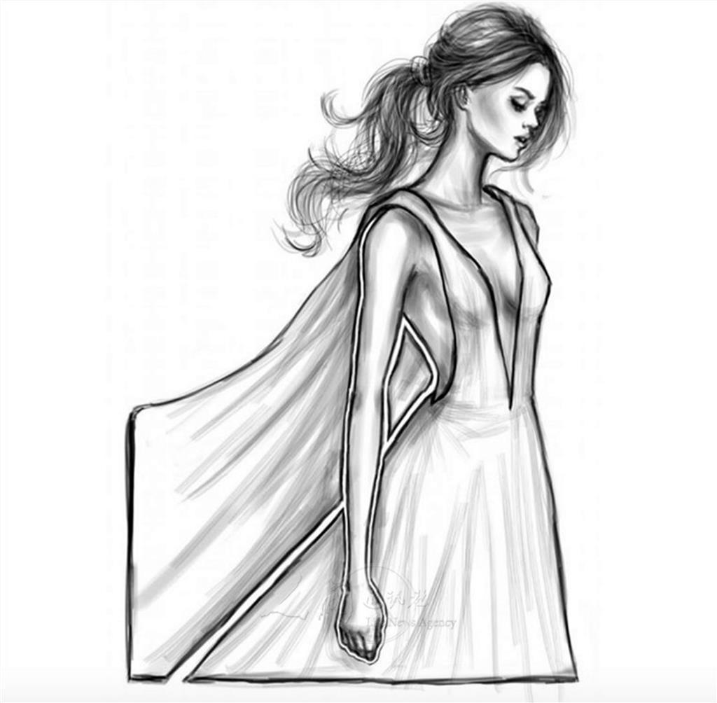 手绘镂空图片人物衣服